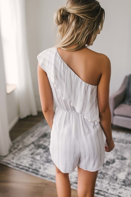 One Shoulder Striped Romper - Off White/Taupe