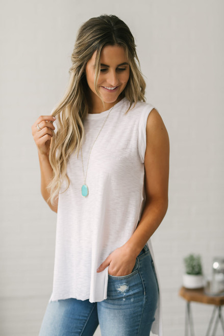 Side Slit High Low Tank - White