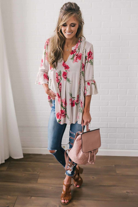 Floral Peplum Sleeve Tunic - Natural Multi