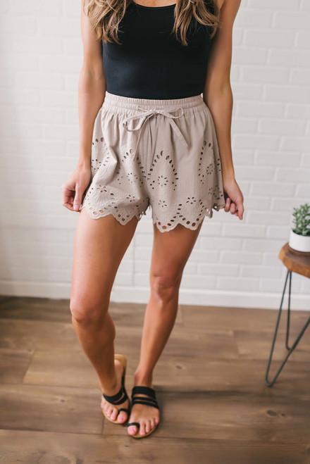 Eyelet Scalloped Shorts - Taupe
