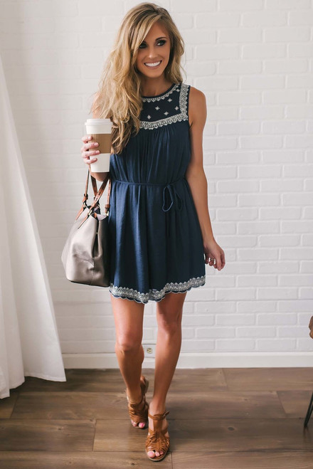 French Quarter Embroidered Dress - Navy