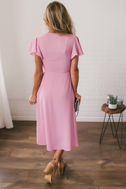 Everly High Low Wrap Dress - Pink