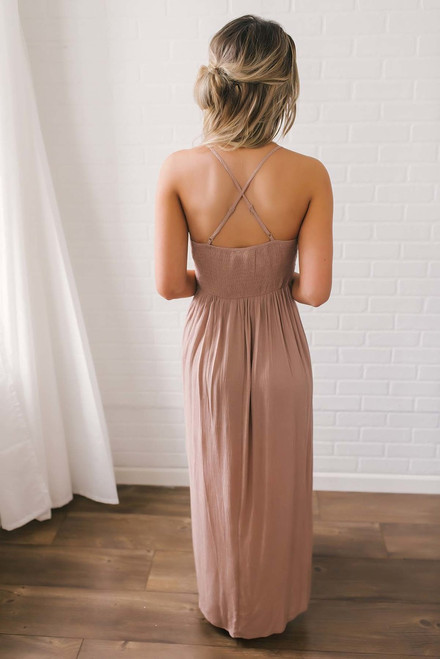 Lace Up Eyelet Romper Maxi - Dusty Rose - FINAL SALE