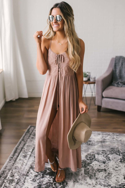 Lace Up Eyelet Romper Maxi - Dusty Rose