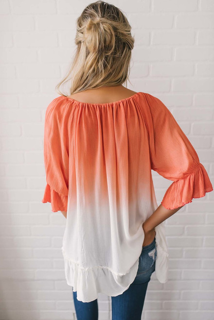 Ombre Ruffle Hem Tunic - Coral/Ivory - FINAL SALE