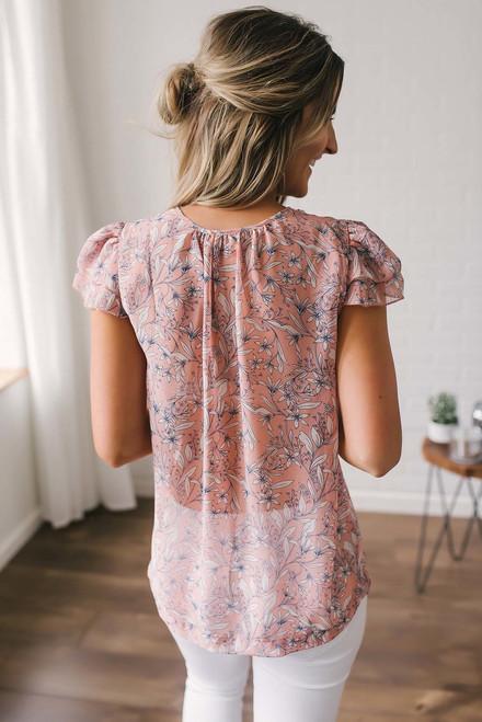 Floral Print Ruffle Blouse - Peach Multi  - FINAL SALE