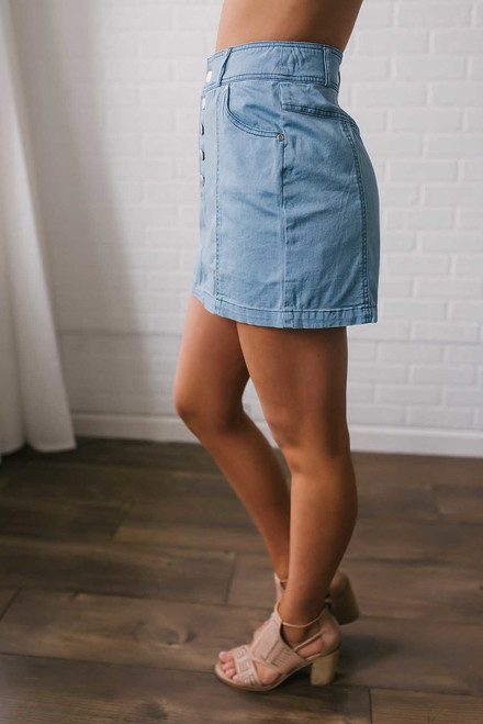 Jack by BB Dakota Kesha Chambray Skirt - Light Wash