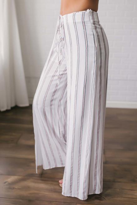 Island Resort Striped Pants - Off White Multi