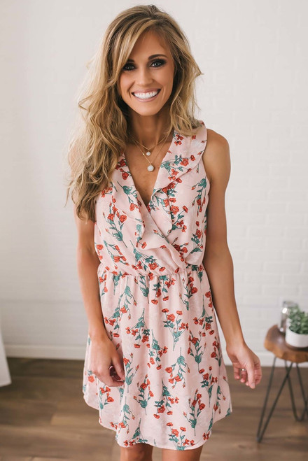 Everly Floral Ruffle Dress - Peach Multi
