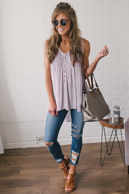 Smocked High Low Tunic - Lilac
