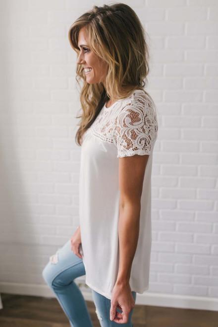 Sweet Caroline Crochet Detail Top - Ivory