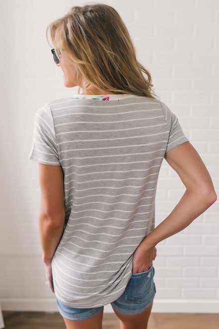 Floral Contrast Striped Tee - Ivory/Grey Multi
