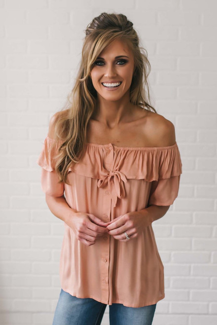 Off the Shoulder Button Down Top - Dusty Peach
