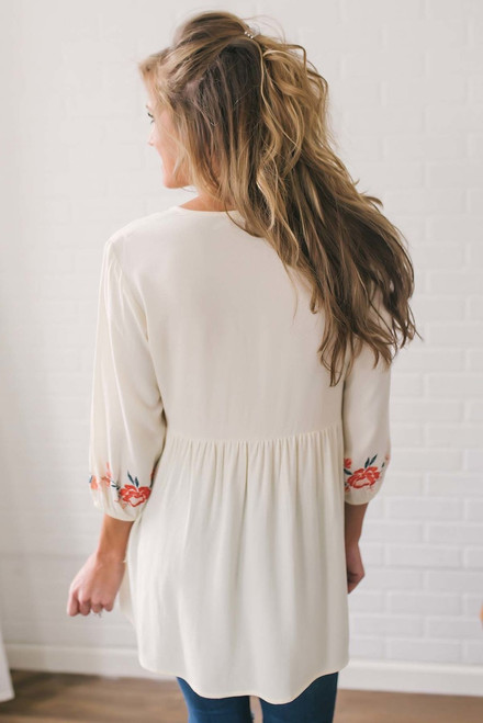 Floral Embroidered Babydoll Tunic - Ivory