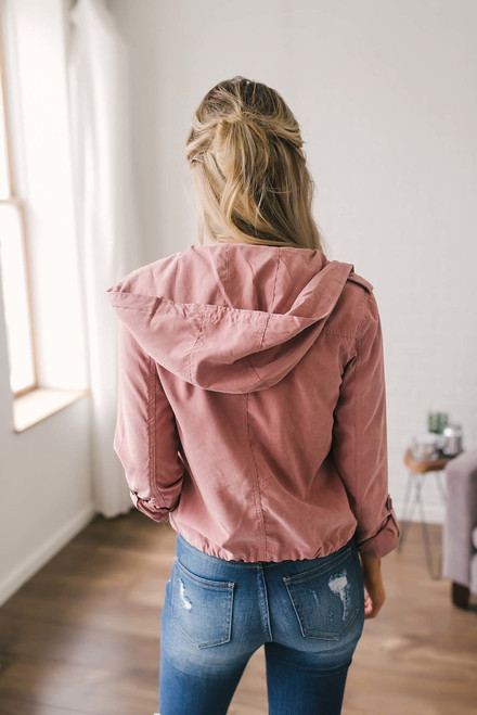 Faux Suede Hooded Zip Up Jacket - Dusty Pink