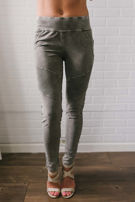 Vintage Wash Moto Leggings - Olive
