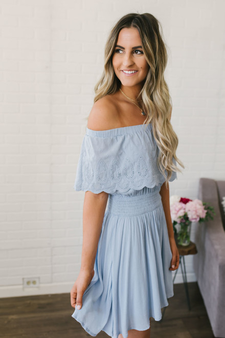 Off the Shoulder Scalloped Dress - Chambray Blue