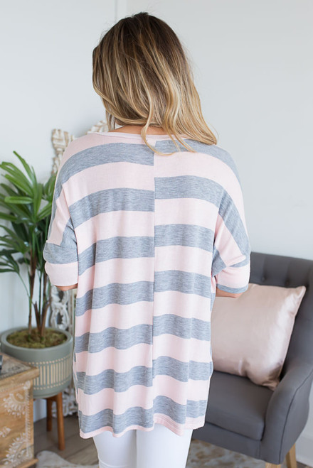 Summer Romance Striped Tunic - Pink/Grey