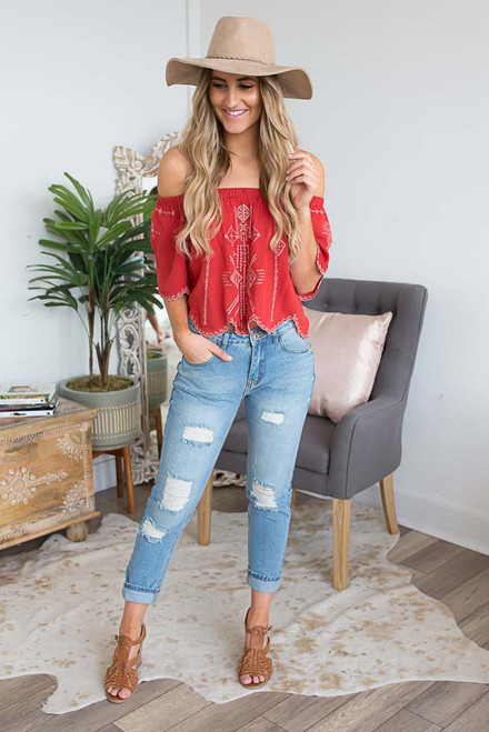 Off the Shoulder Embroidered Scalloped Top - Paprika