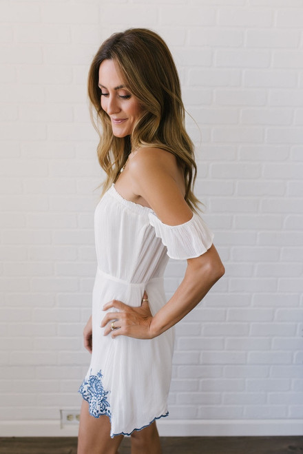 Off the Shoulder Embroidered Romper - Off White/Blue