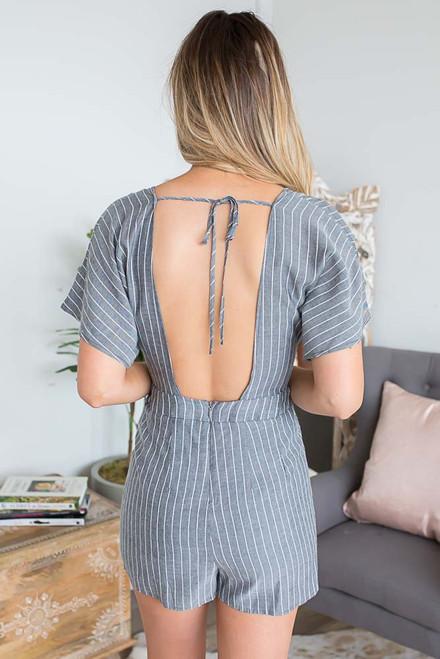 Short Sleeve Striped Romper - Grey/White - FINAL SALE