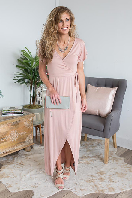 Short Sleeve Wrap Maxi - Dusty Pink - FINAL SALE