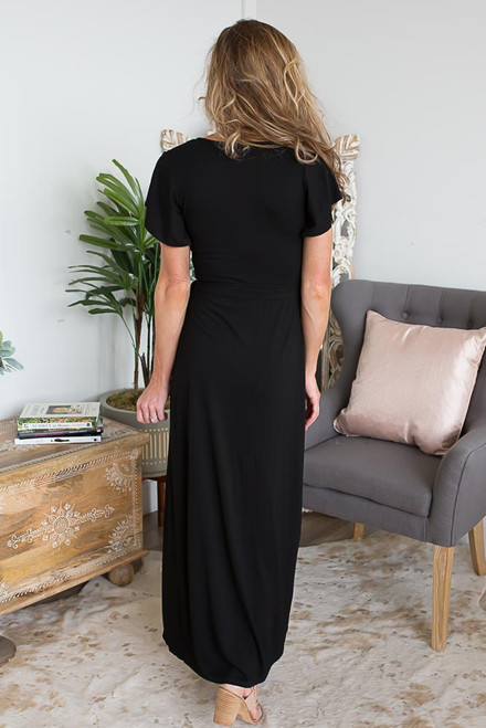 Short Sleeve Wrap Maxi - Black