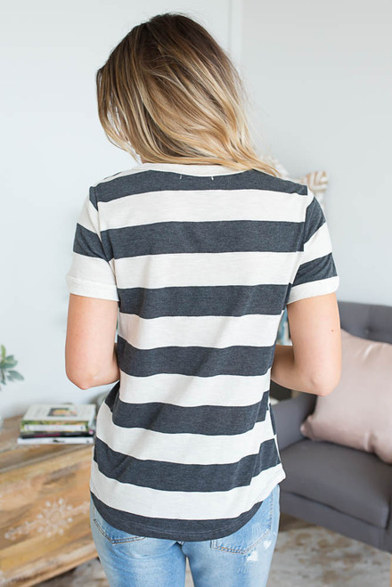 Sun Daze Striped Tee - Beige/Charcoal
