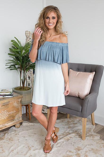 Off the Shoulder Ombre Dress - Blue - FINAL SALE