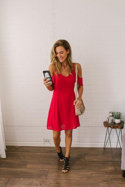 Cold Shoulder Keyhole Back Dress - Red
