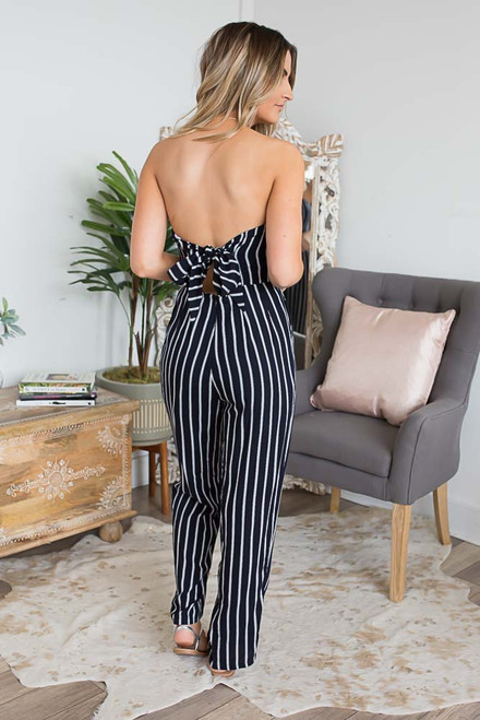 Strapless Striped Jumpsuit - Navy/White