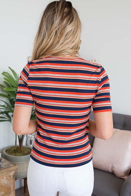 Striped Faux Wrap Ribbed Top - Orange Multi - FINAL SALE
