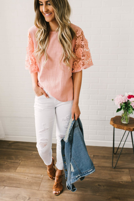 Almost Paradise Crochet Sleeve Top - Pink