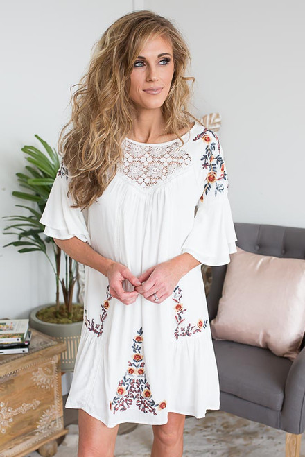 Short Sleeve Embroidered Dress - Off White - FINAL SALE