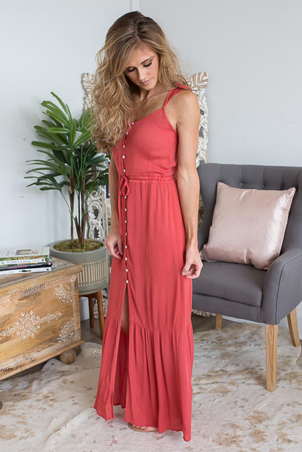 Barcelona Babe Button Down Maxi - Rust - FINAL SALE