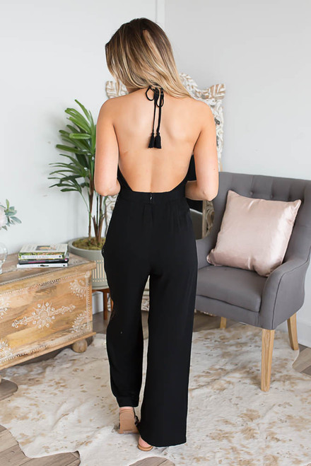 Ladder Detail Halter Jumpsuit - Black
