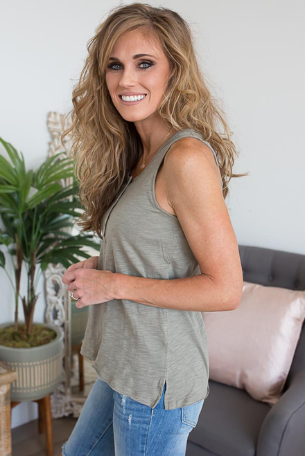 Button Down Henley Tank - Olive