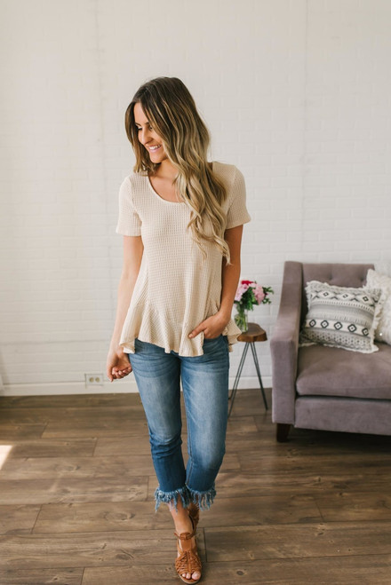 Short Sleeve High Low Thermal Top - Natural - FINAL SALE