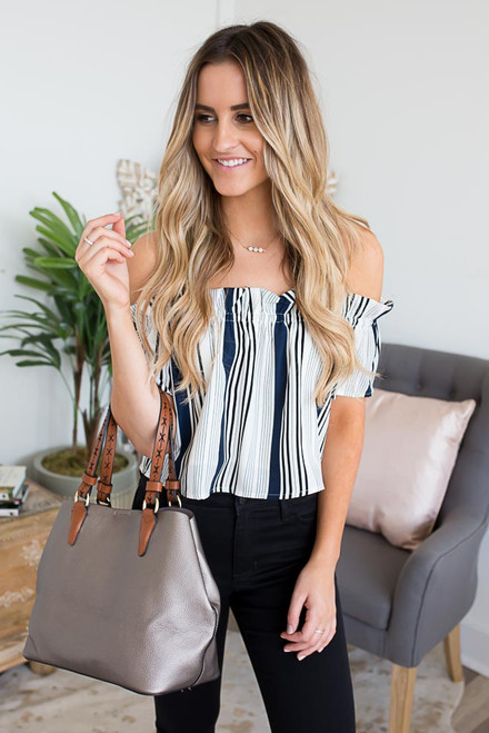 Off the Shoulder Striped Top - Navy/White - FINAL SALE