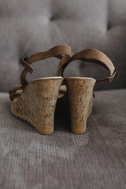 Calabasas Braided Cork Wedges - Brown - FINAL SALE