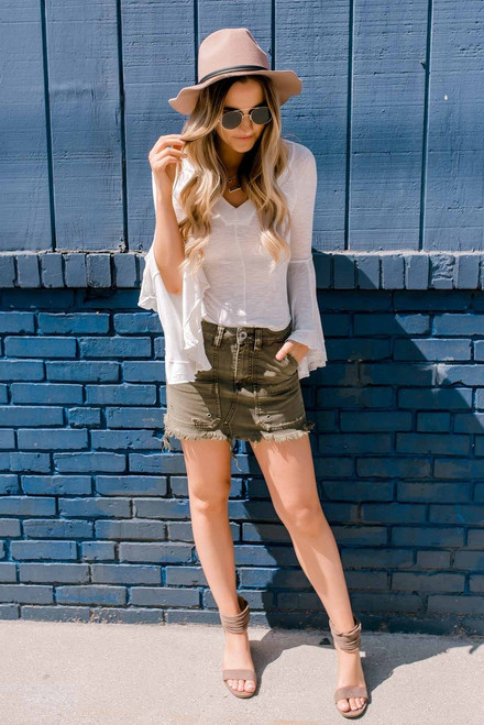 Free People Canvas Relaxed Mini Skirt - Moss