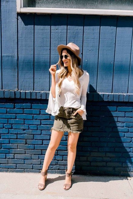 Free People Canvas Relaxed Mini Skirt - Moss  - FINAL SALE