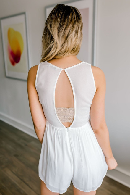 Floral Embroidered Tulip Romper - Off White - FINAL SALE