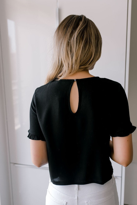 Short Sleeve Eyelet Top - Black - FINAL SALE