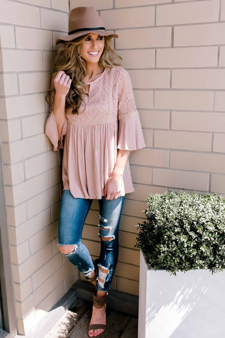 Lace Detail Babydoll Top - Dusty Pink