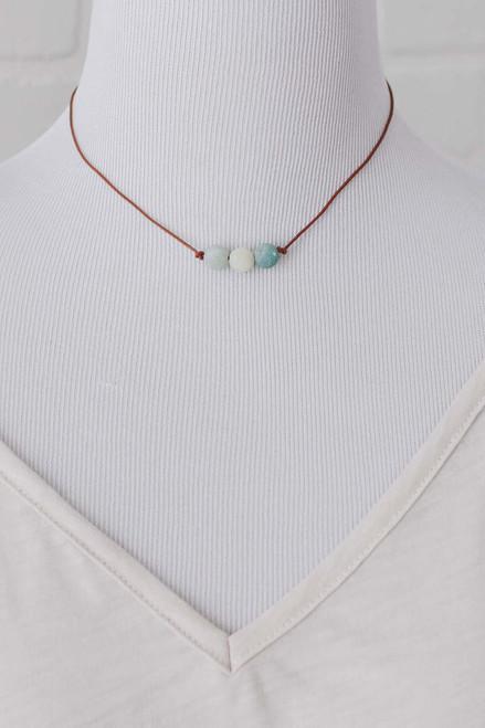 Triple Amazonite Stone Leather Necklace - Blue