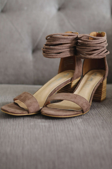 Layered Ankle Strap Heels - Dark Taupe