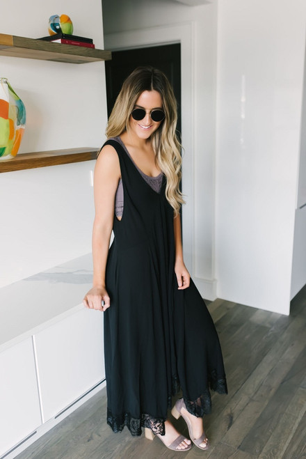 Free People Girl Like You Slip Maxi - Black
