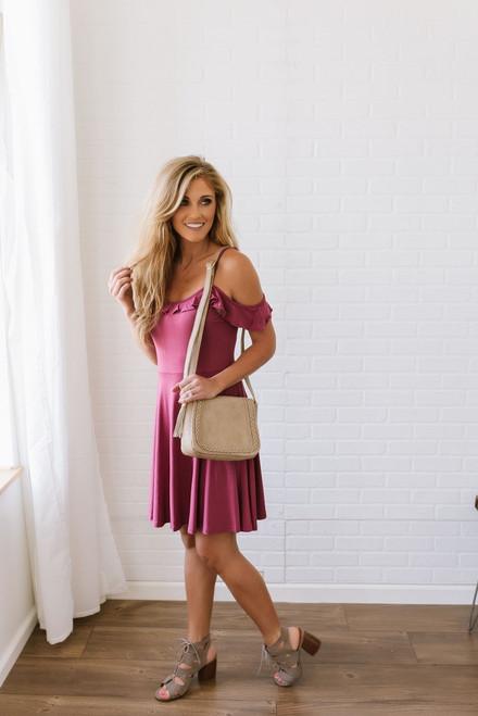 Cold Shoulder Ruffle Detail Dress - Purple - FINAL SALE