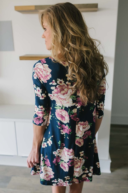 Cross Front Floral Print Dress - Navy Multi